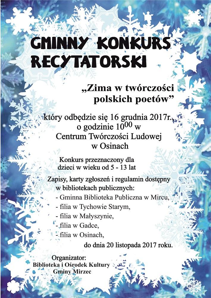 Konkurs Gbp Wiersz O Zimie 1 Biblioteka I Ośrodek